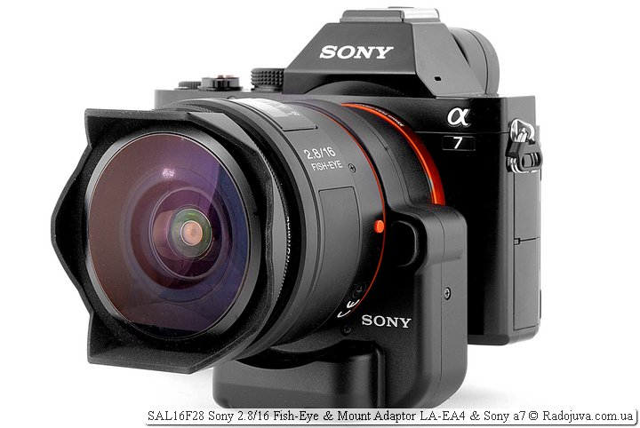 Переходник Sony LA-EA4 с объективом SAL16F28 Sony 2.8/16 Fish-Eye и камерой Sony A7