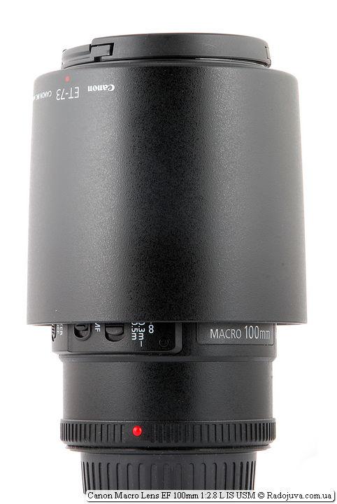 Canon Macro Lens EF 100mm 1:2.8 L IS USM с блендой в режиме транспортировки