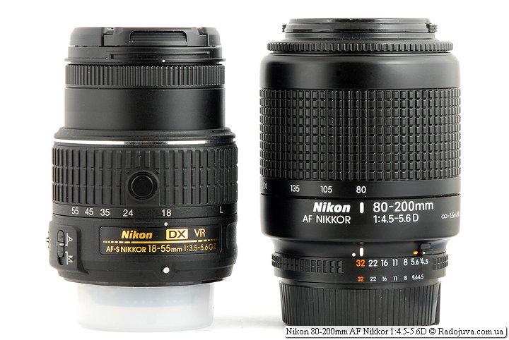 Размеры Nikon 18-55mm 1:3.5-5.6GII VR II AF-S DX Nikkor и Nikon 80-200mm AF Nikkor 1:4.5-5.6D, вид сзади