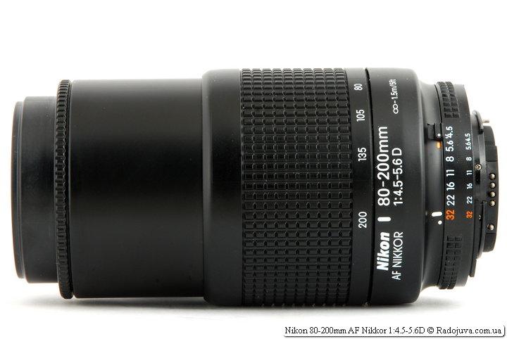 Nikon 80-200mm AF Nikkor 1:4.5-5.6D при фокусировке на МДФ и 200 мм фокусного расстояния (максимальная длина хобота)