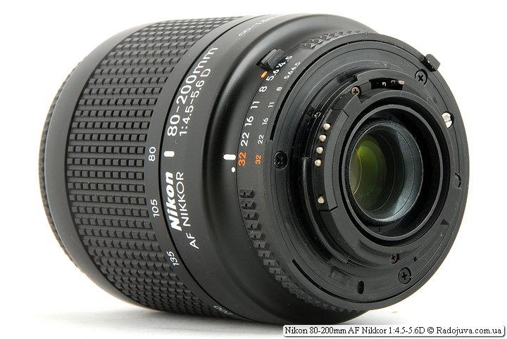 Nikon 80-200mm AF Nikkor 1:4.5-5.6D, вид сзади