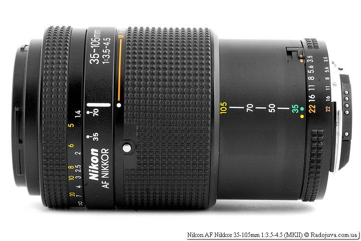 Nikon AF Nikkor 35-105mm 1:3.5-4.5 (MKII) на 105 мм и при фокусировке на МДФ