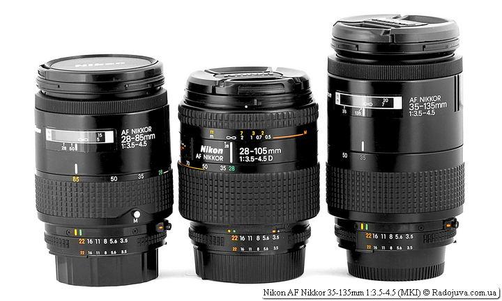 Nikon AF Nikkor 28-85mm 1:3.5-4.5 и Nikon AF Nikkor 28-105mm 1:3.5-4.5D и Nikon AF Nikkor 35-135mm 1:3.5-4.5 (MKI)