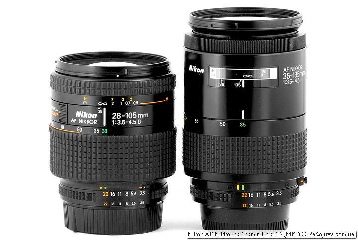 Nikon AF Nikkor 28-105mm 1:3.5-4.5D и Nikon AF Nikkor 35-135mm 1:3.5-4.5 (MKI)