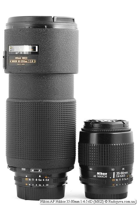 Nikon ED AF Nikkor 80-200mm 1:2.8D (MKII) и Nikon AF Nikkor 35-80mm 1:4-5.6D (MKII)