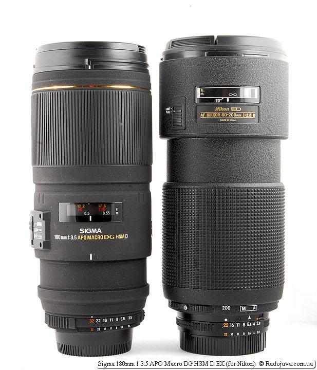 Sigma 180mm 1:3.5 APO Macro DG HSM D EX и Nikon ED AF Nikkor 80-200mm 1:2.8D (MKII)