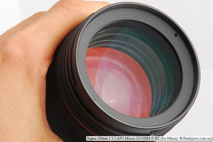 Просветление передней линзы Sigma 180mm 1:3.5 APO Macro DG HSM D EX