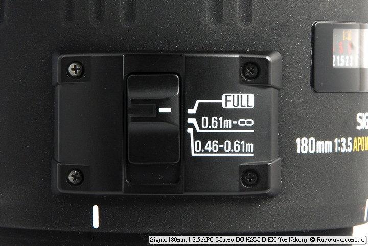 Ограничитель фокусировки Sigma 180mm 1:3.5 APO Macro DG HSM D EX
