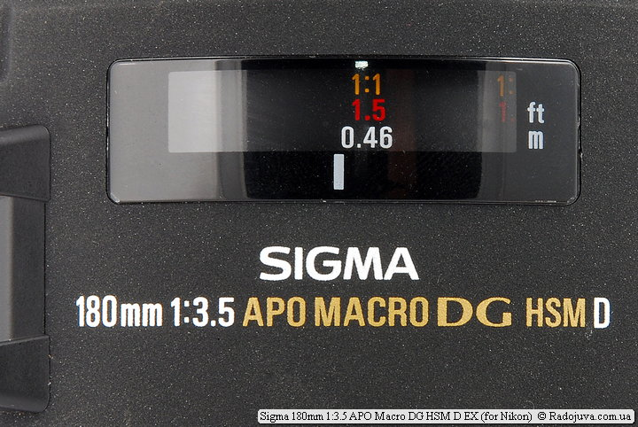 Шкала фокусировки Sigma 180mm 1:3.5 APO Macro DG HSM D EX