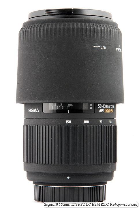 Sigma 50-150mm 1:2.8 APO DC HSM EX с блендой в режиме транспортировки