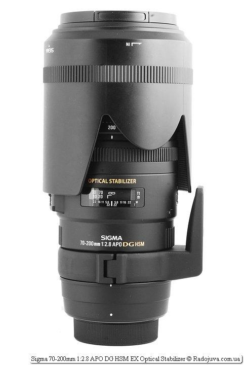 Sigma 70-200mm 1:2.8 APO DG HSM EX Optical Stabilizer с блендой в режиме транспортировки