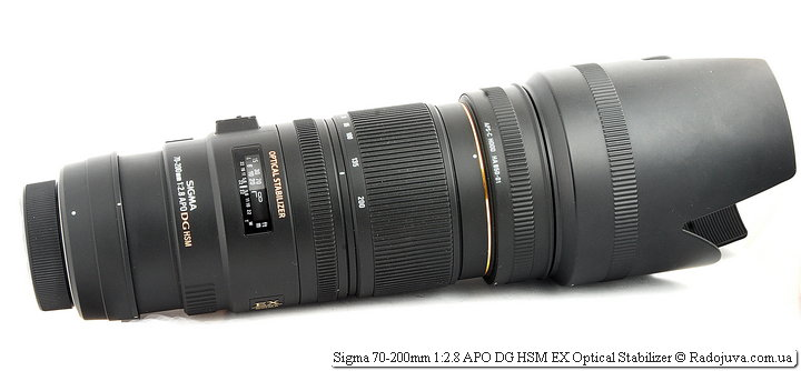 Sigma 70-200mm 1:2.8 APO DG HSM EX Optical Stabilizer c удлинителем и блендой