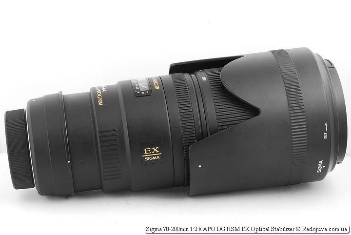 Sigma 70-200mm 1:2.8 APO DG HSM EX Optical Stabilizer c удлинителем и блендой в режиме транспортировки