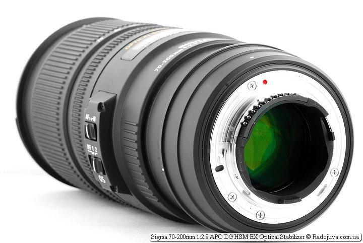 Вид со стороны байонета Sigma 70-200mm 1:2.8 APO DG HSM EX Optical Stabilizer