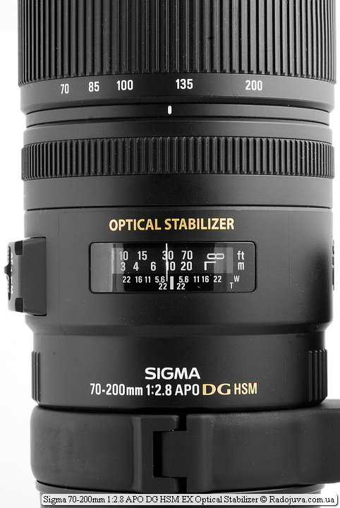 Sigma 70-200mm 1: 2.8 APO DG HSM EX Optical Stabilizer