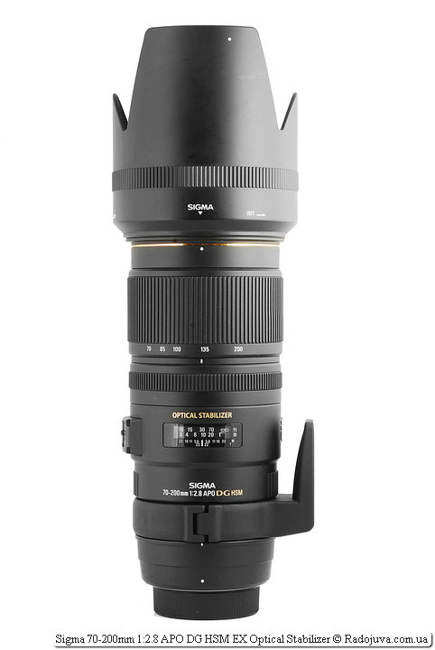Sigma 70-200mm 1: 2.8 APO DG HSM EX Optical Stabilizer with a hood