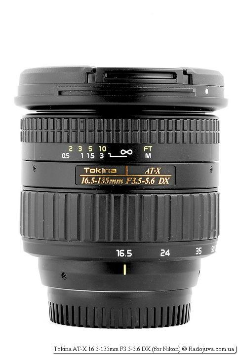 Вид Tokina AT-X 16.5-135mm F3.5-5.6 DX с крышками