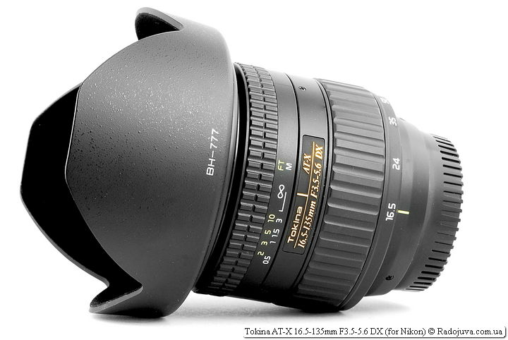 Tokina AT-X 16.5-135mm F3.5-5.6 DX с блендой
