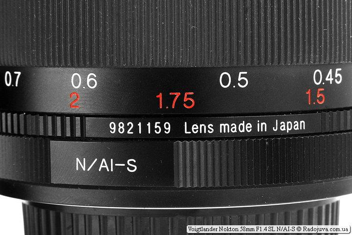 Метки на объективе Voigtlander Nokton 58mm F1.4 SL N/AI-S