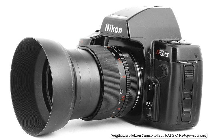 Voigtlander Nokton 58mm F1.4 SL N/AI-S на ЗК с блендой