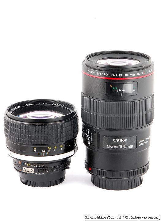 Nikon Nikkor 85mm 1:1.4 и Canon Macro Lens EF 100mm 1:2.8 L IS USM