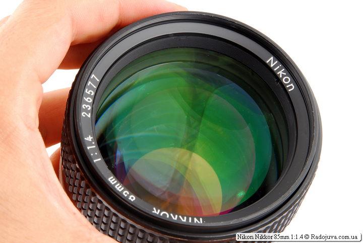 Просветление передней линзы Nikon Nikkor 85mm 1:1.4