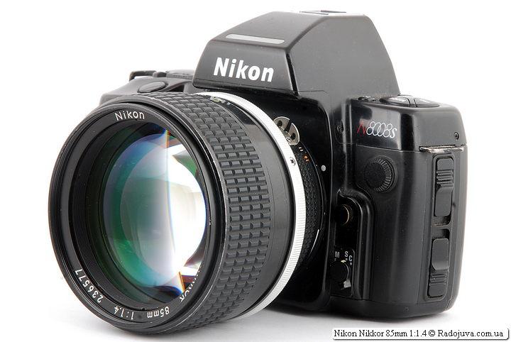 Nikon Nikkor 85mm 1:1.4 на ЗК Nikon AF N8008S