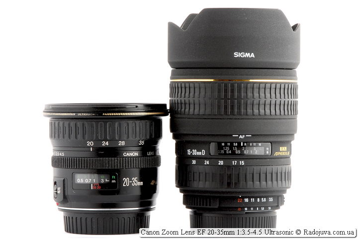 Canon Zoom Lens EF 20-35mm 1:3.5-4.5 Ultrasonic и Sigma Zoom 15-30mm D 1:3.5-4.5 DG EX Aspherical IF
