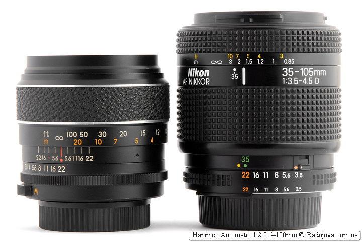 Hanimex Automatic 1:2.8 f=100mm и Nikon AF Nikkor 35-105mm 1:3.5-4.5 D (MKIII)