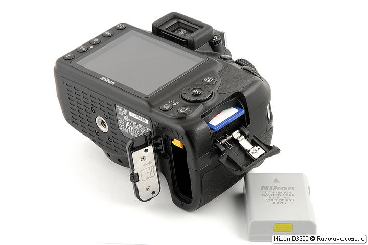 Nikon D3300, battery compartment, battery and memory card