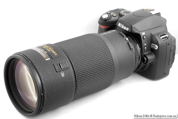 Nikon D40x с объективом Nikon ED AF Nikkor 80-200mm 1:2.8D (MKII)