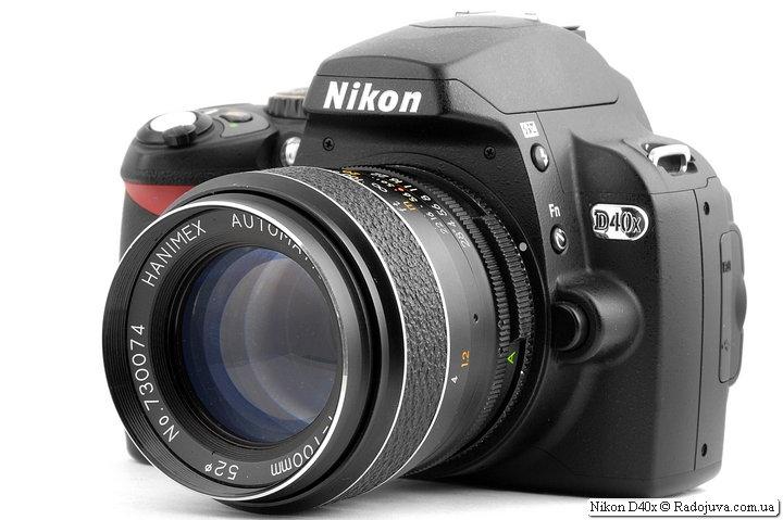 Nikon D40x с объективом Hanimex Automatic 1:2.8 f=100mm