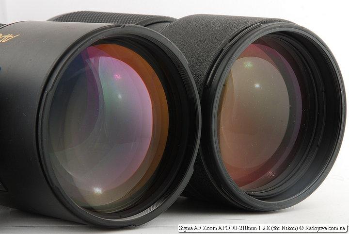Передние линзы Sigma AF Zoom APO 70-210mm 1:2.8 и Nikon ED AF Nikkor 80-200mm 1:2.8D (MKII)