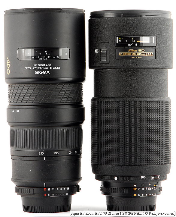 Sigma AF Zoom APO 70-210mm 1:2.8 и Nikon ED AF Nikkor 80-200mm 1:2.8D (MKII)