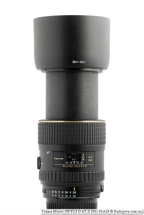 Максимальная длина объектива Tokina Macro 100 F2.8 D AT-X PRO