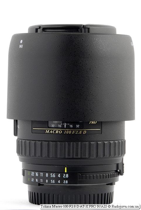 Tokina Macro 100 F2.8 D AT-X PRO, бленда установлена в режим транспортировки