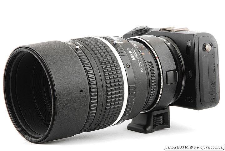 Canon EOS M с двумя переходниками и объективом Nikon AF DC-Nikkor 105mm 1:2 D Defocus Image Control
