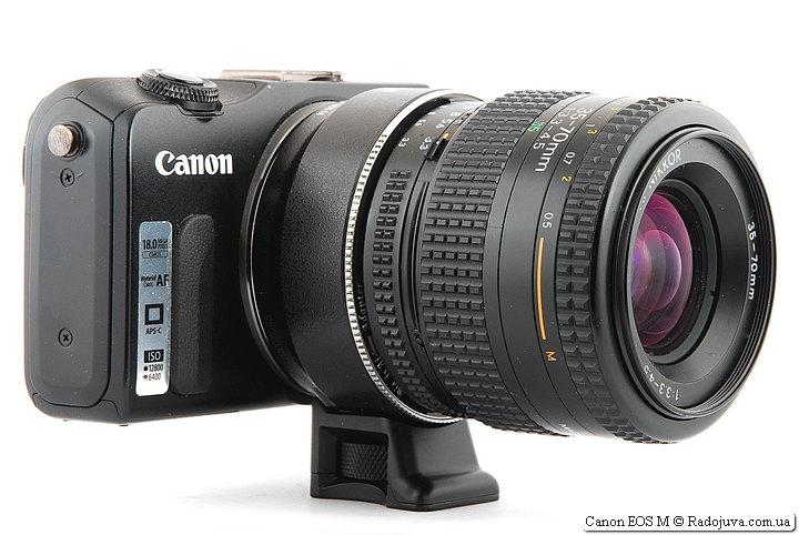 Canon EOS M с двумя переходниками и объективом Nikon AF Nikkor 35-70mm 1:3.3-4.5 (MKII)