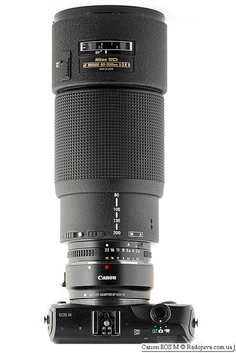 Canon EOS M с объктивом Nikon ED AF Nikkor 80-200mm 1:2.8D (MKII)