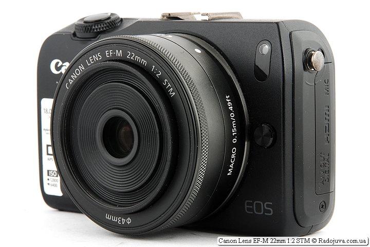 Canon Lens EF-M 22mm 1:2 STM на камере Canon EOS M