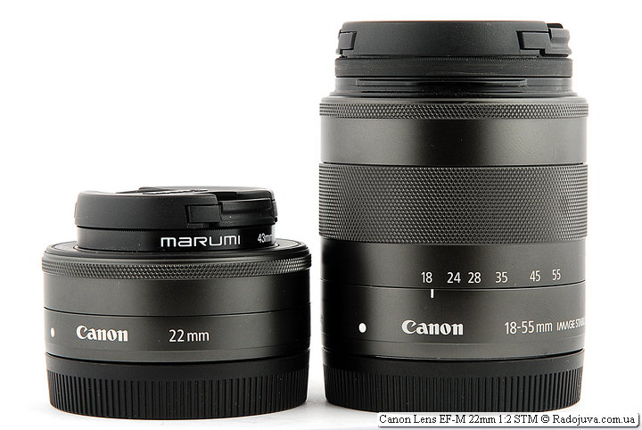 Размеры Canon Lens EF-M 22mm 1:2 STM и Canon Zoom Lens EF-M 18-55mm 1:3.5-5.6 IS STM