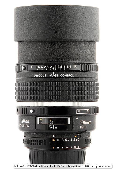 Nikon AF DC-Nikkor 105mm 1:2 D Defocus Image Control с поднятой блендой