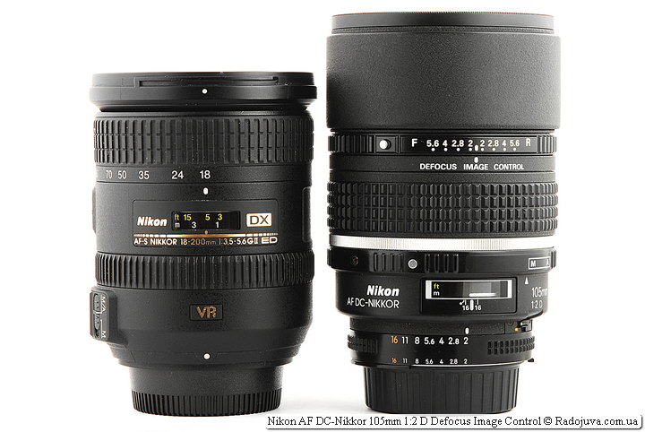 Nikon DX AF-S Nikkor 18-200mm 1:3.5-5.6GII ED SWM VR IF Aspherical и Nikon AF DC-Nikkor 105mm 1:2 D Defocus Image Control