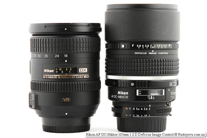Nikon DX AF-S Nikkor 18-200mm 1:3.5-5.6GII ED SWM VR IF Aspherical и Nikon AF DC-Nikkor 105mm 1:2 D Defocus Image Control