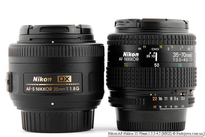 Размеры Nikon DX AF-S Nikkor 35mm 1:1.8G SWM Aspherical и Nikon AF Nikkor 35-70mm 1:3.3-4.5 (MKII) и