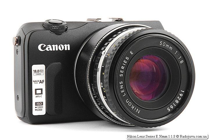 Nikon Lens Series E 50mm 1:1.8 (MKII) с переходником Nikon - Canon и Canon mount adapter EF-EOS M на камере Canon EOS M