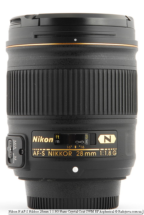 Вид Nikon N AF-S Nikkor 28mm 1:1.8G Nano Crystal Coat SWM RF Aspherical с крышками