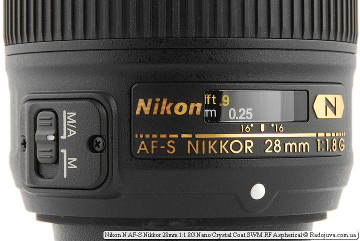 Lens tags Nikon N AF-S Nikkor 28 mm 1.8 G Nano Crystal Coat SWM RF Aspherical