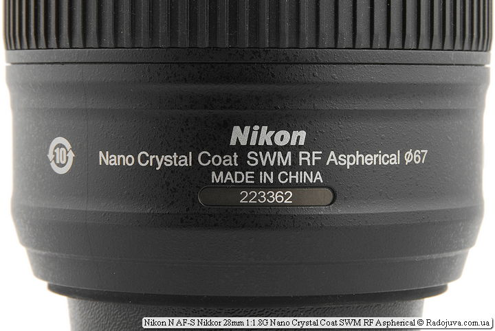 Метки обоъектива Nikon N AF-S Nikkor 28 mm 1.8 G Nano Crystal Coat SWM RF Aspherical