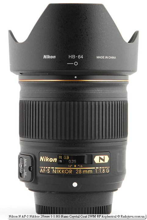 Nikon N AF-S Nikkor 28 mm 1.8 G Nano Crystal Coat SWM RF Aspherical с блендой